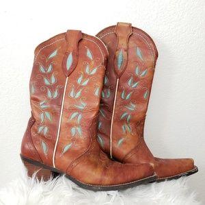 Turquoise embellished leather cowboy boots